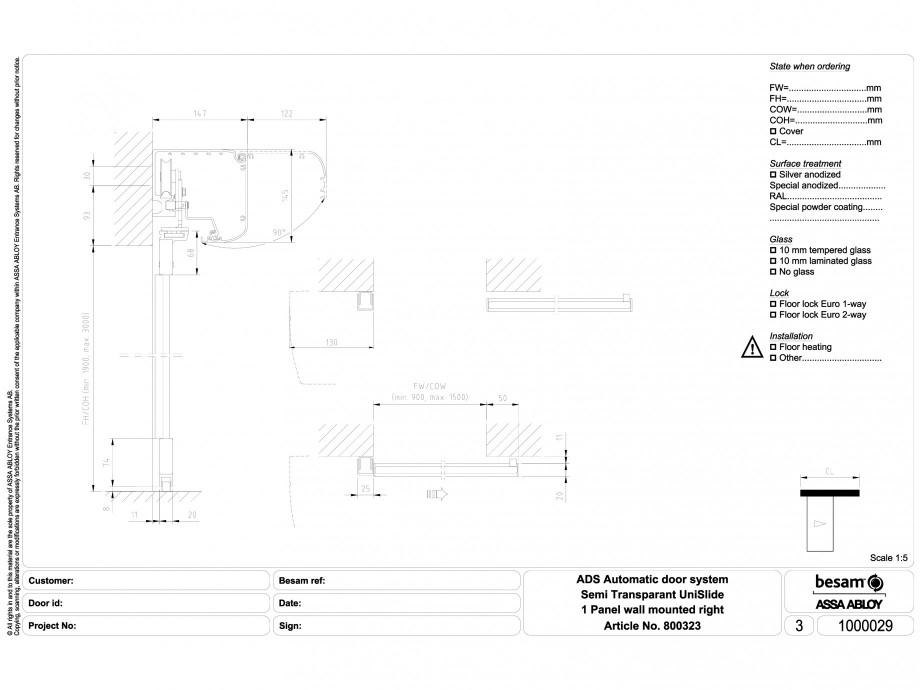 Pagina 1 - CAD-DWG Usa automata semi-transparenta 1 - montare pe perete dreapta ASSA ABLOY Detaliu...