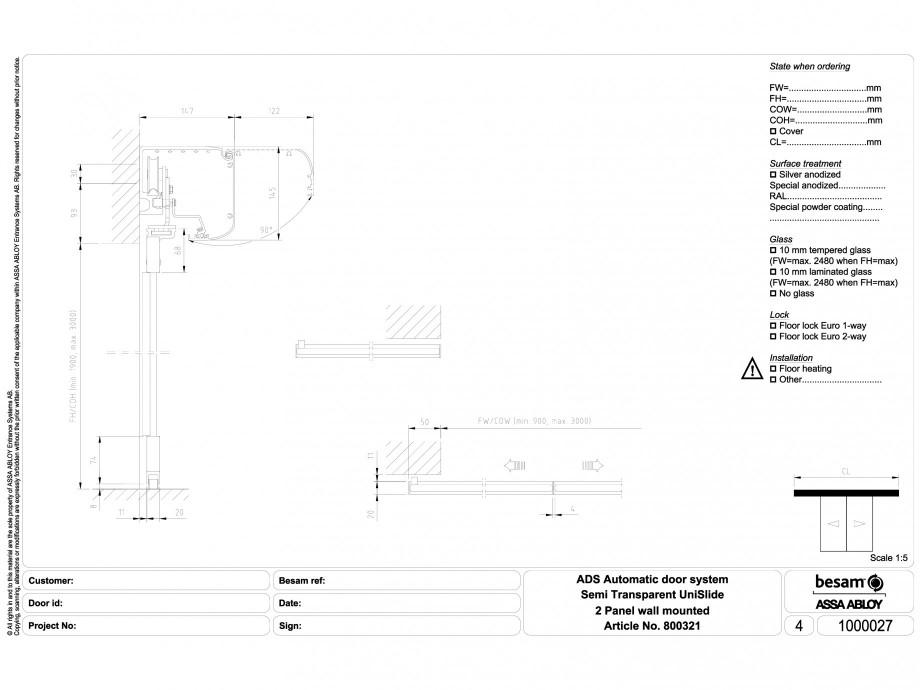 Pagina 1 - CAD-DWG Usa automata semi-transparenta 2 - montare pe perete ASSA ABLOY Detaliu de montaj...