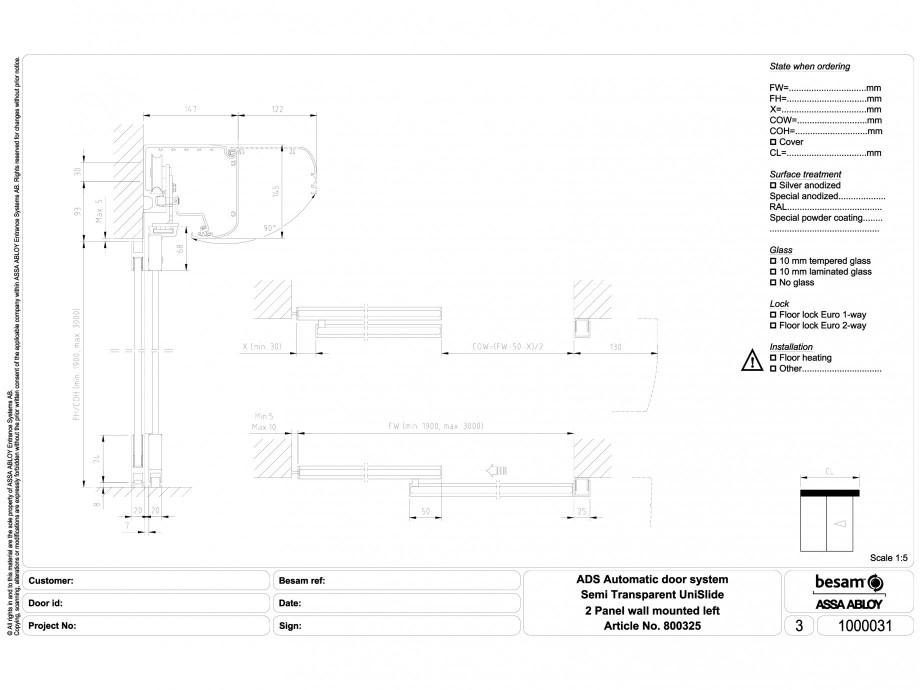 Pagina 1 - CAD-DWG Usa automata semi-transparenta 2 - montare pe perete stanga ASSA ABLOY Detaliu de...