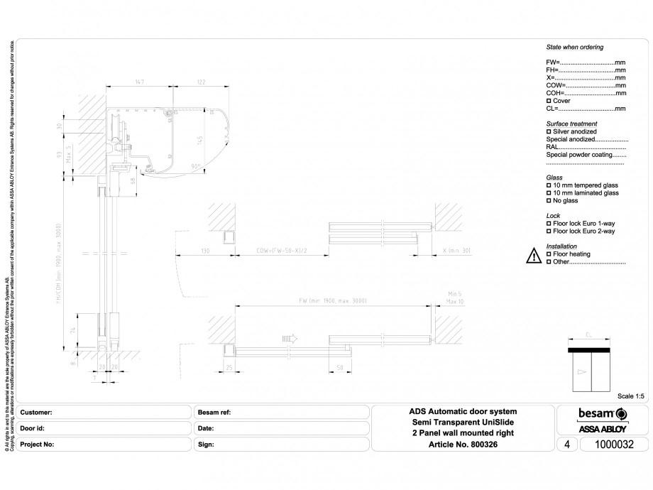 Pagina 1 - CAD-DWG Usa automata semi-transparenta 2 - montare pe perete dreapta ASSA ABLOY Detaliu...