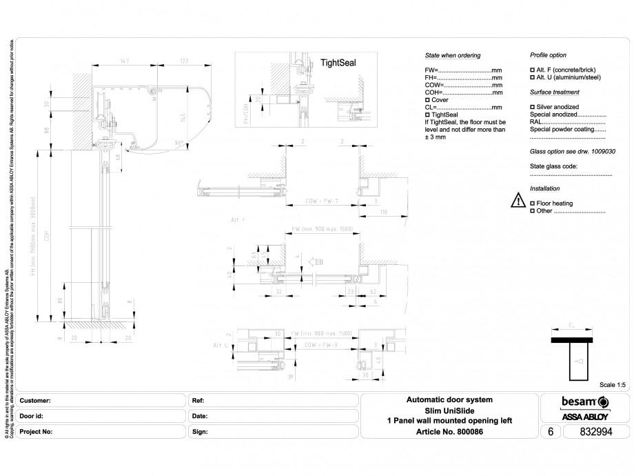 Pagina 1 - CAD-DWG Usa automata glisanta 1 - montare pe perete cu deschidere stanga ASSA ABLOY...