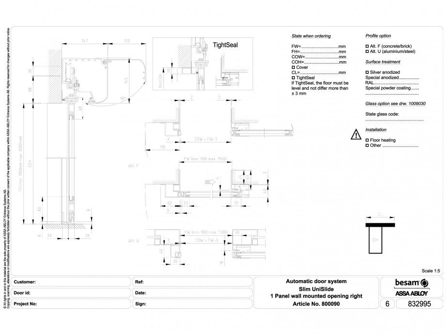 Pagina 1 - CAD-DWG Usa automata glisanta 1 - montare pe perete cu deschidere dreapta ASSA ABLOY...