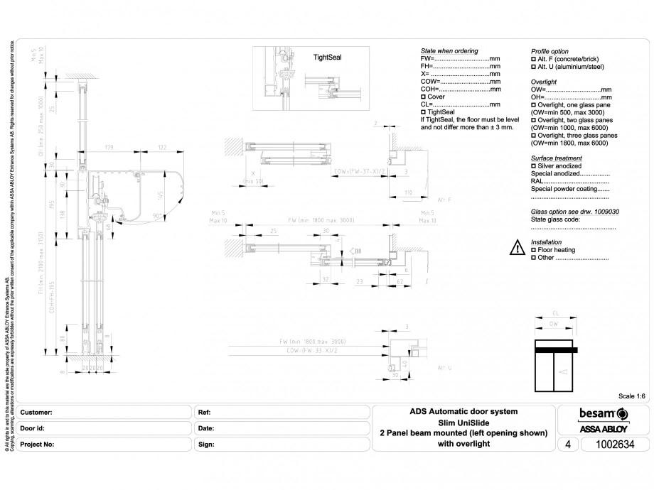 Pagina 1 - CAD-DWG Usa automata glisanta 2 - montare sina, deschidere stanga ASSA ABLOY Detaliu de...