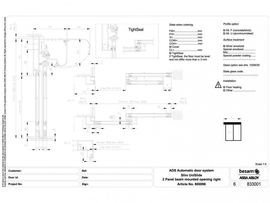 Pagina 1 - CAD-DWG Usa automata glisanta 2 - montare sina, deschidere dreapta ASSA ABLOY Detaliu de ...