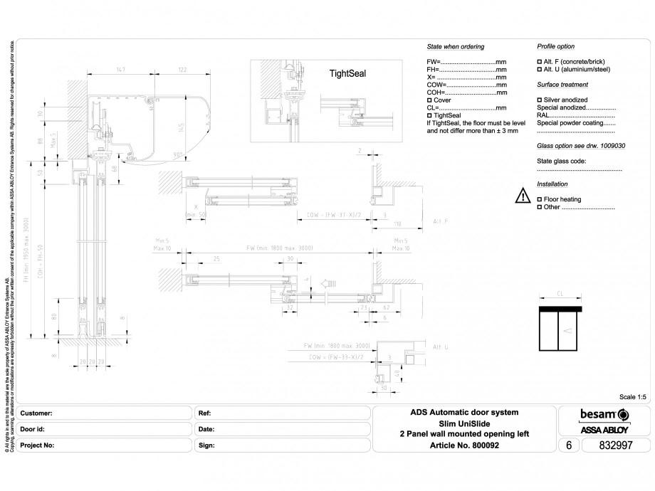 Pagina 1 - CAD-DWG Usa automata glisanta 2 - montare pe perete cu deschidere stanga ASSA ABLOY...