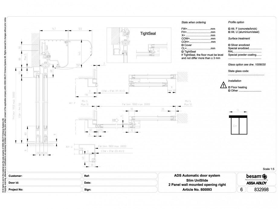 Pagina 1 - CAD-DWG Usa automata glisanta 2 - montare pe perete cu deschidere dreapta ASSA ABLOY...
