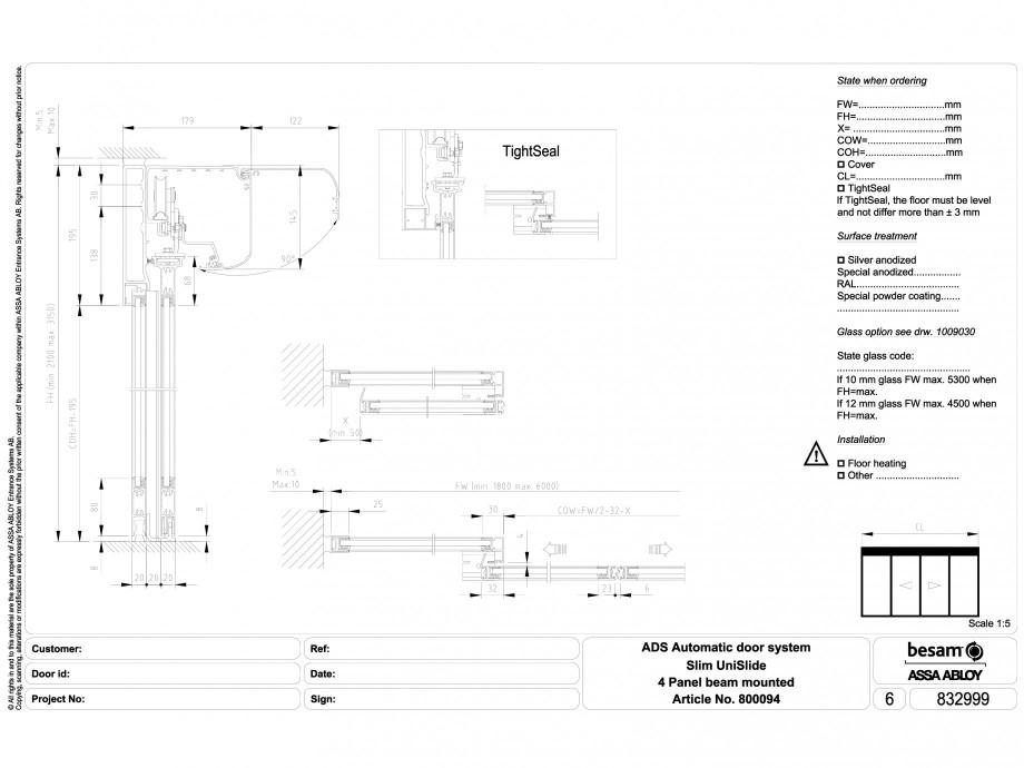 Pagina 1 - CAD-DWG Usa automata glisanta 4 - montare sina ASSA ABLOY Detaliu de montaj Besam Slim
