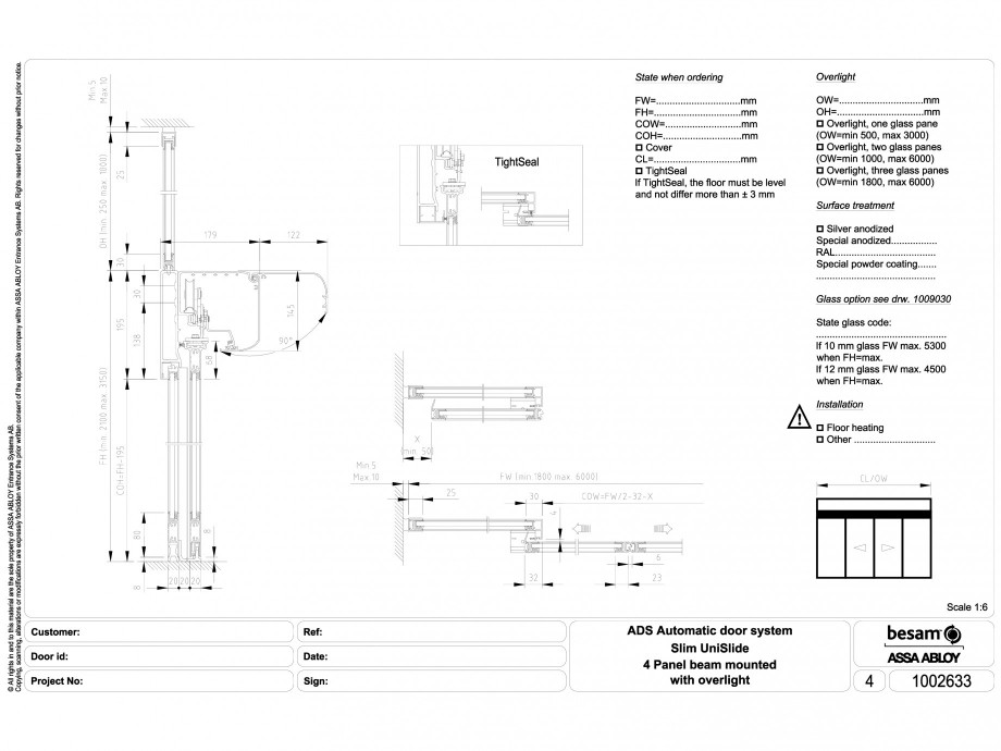 Pagina 1 - CAD-DWG Usa automata glisanta 4 - montare sina cu supralumina ASSA ABLOY Detaliu de...