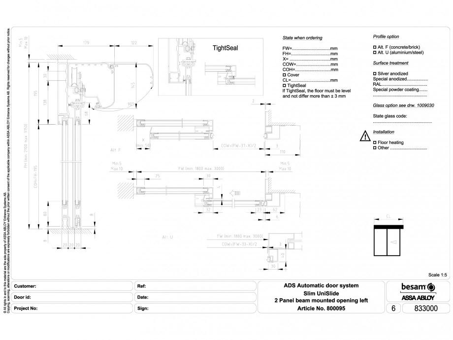 Pagina 1 - CAD-DWG Usa automata glisanta - montare sina, deschidere stanga ASSA ABLOY Detaliu de...