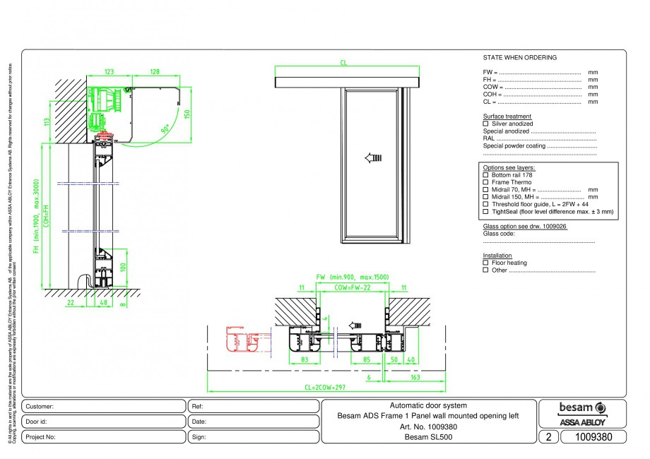 Pagina 1 - CAD-PDF Usa automata glisanta 1 - montare pe perete cu deschidere stanga ASSA ABLOY...