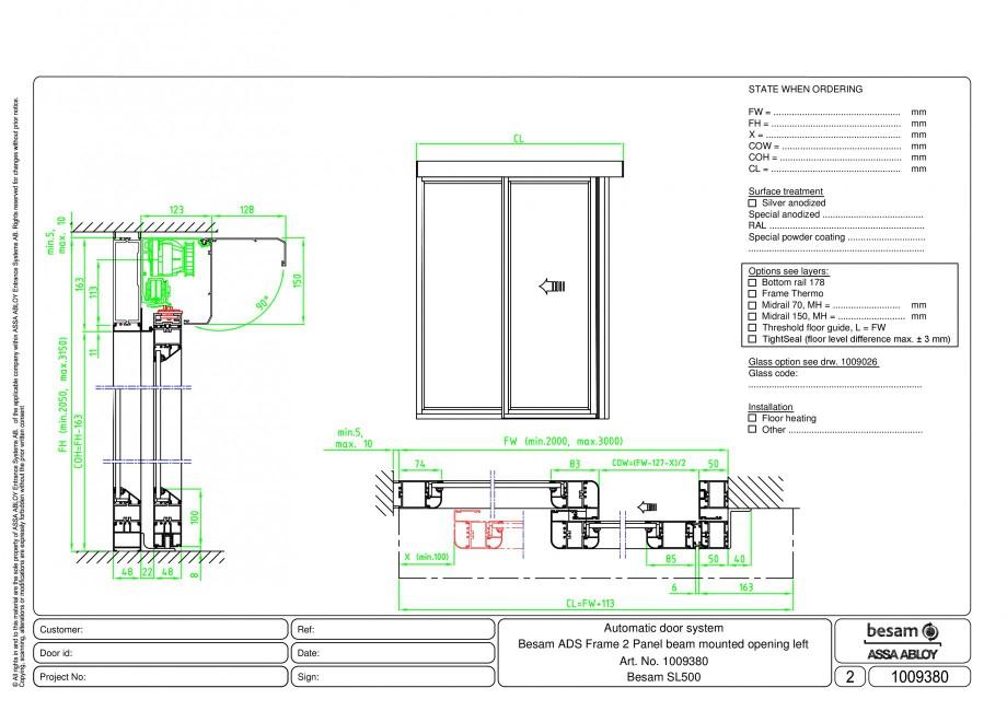 Pagina 1 - CAD-PDF Usa automata glisanta 2 - montare sina, deschidere stanga ASSA ABLOY Detaliu de...