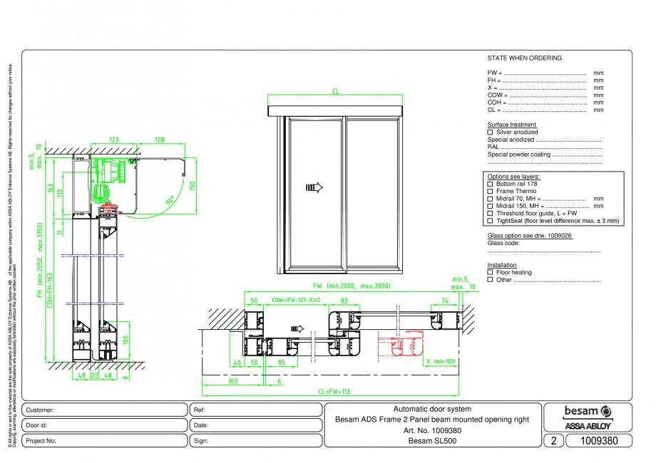 Pagina 1 - CAD-PDF Usa automata glisanta 2 - montare sina, deschidere dreapta ASSA ABLOY Detaliu de ...