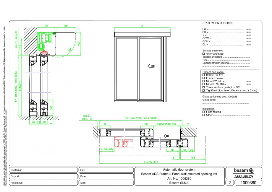 Pagina 1 - CAD-PDF Usa automata glisanta 2 - montare pe perete cu deschidere stanga ASSA ABLOY...