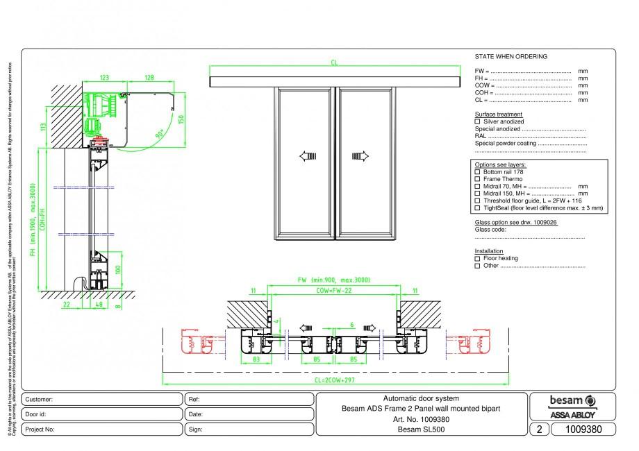 Pagina 1 - CAD-PDF Usa automata glisanta 2 - montare pe perete ASSA ABLOY Detaliu de montaj Besam...