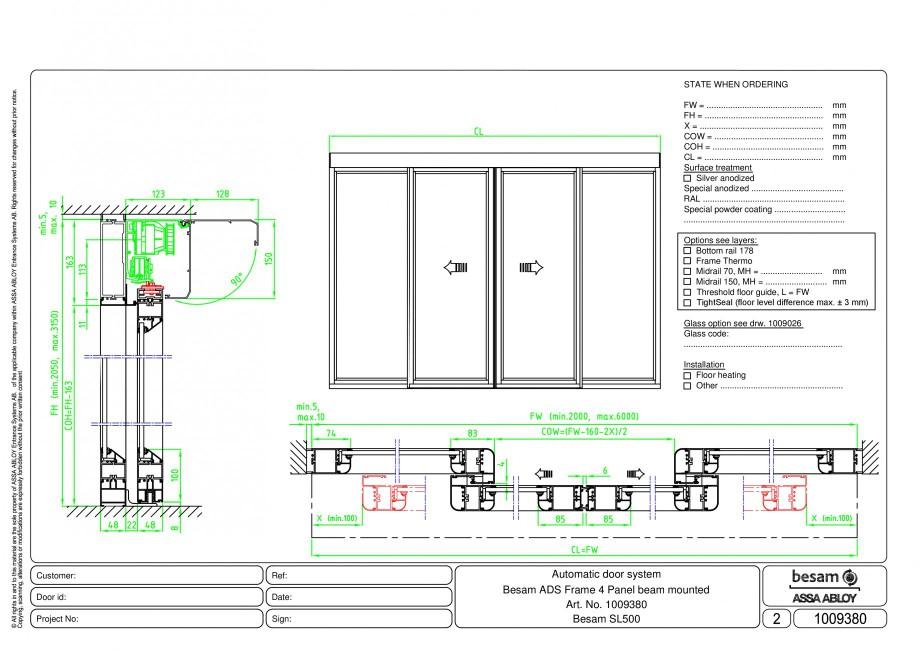 Pagina 1 - CAD-PDF Usa automata glisanta 4 - montare sina ASSA ABLOY Detaliu de montaj Besam Frame