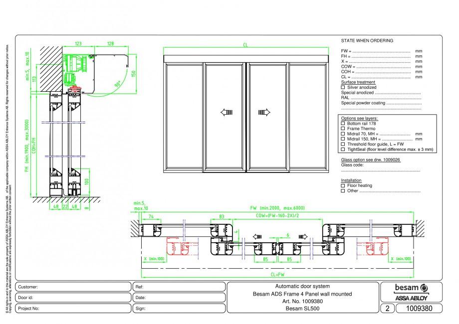 Pagina 1 - CAD-PDF Usa automata glisanta 4 - montare pe perete ASSA ABLOY Detaliu de montaj Besam...