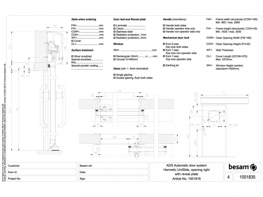 Pagina 1 - CAD-DWG Usa automata ermetica cu deschidere pe dreapta (reveal plate) ASSA ABLOY Detaliu ...