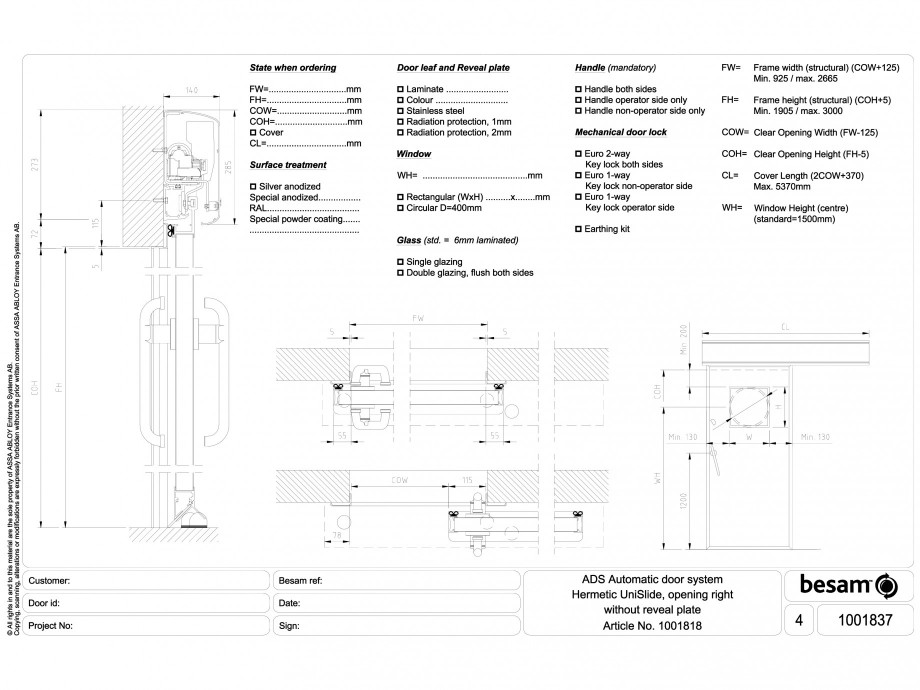 Pagina 1 - CAD-DWG Usa automata ermetica cu deschidere pe dreapta ASSA ABLOY Detaliu de montaj Besam...