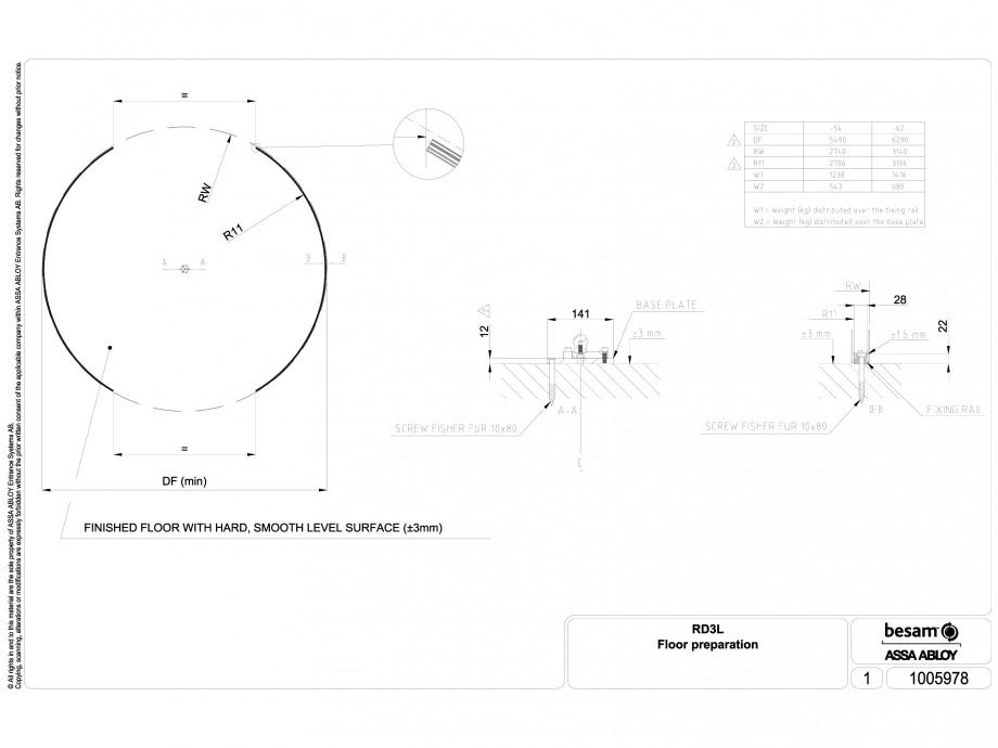 Pagina 1 - CAD-DWG Usa automata rotativa - pregatirea pardoselii ASSA ABLOY Detaliu de montaj Besam ...