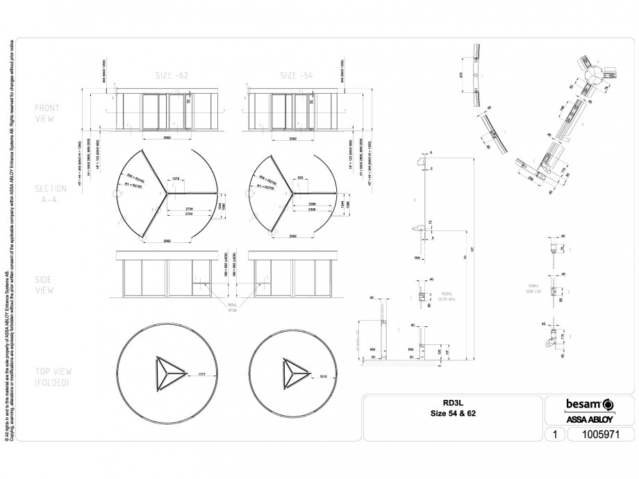 Pagina 1 - CAD-DWG Usa automata rotativa ASSA ABLOY Detaliu de montaj Besam RD3L
