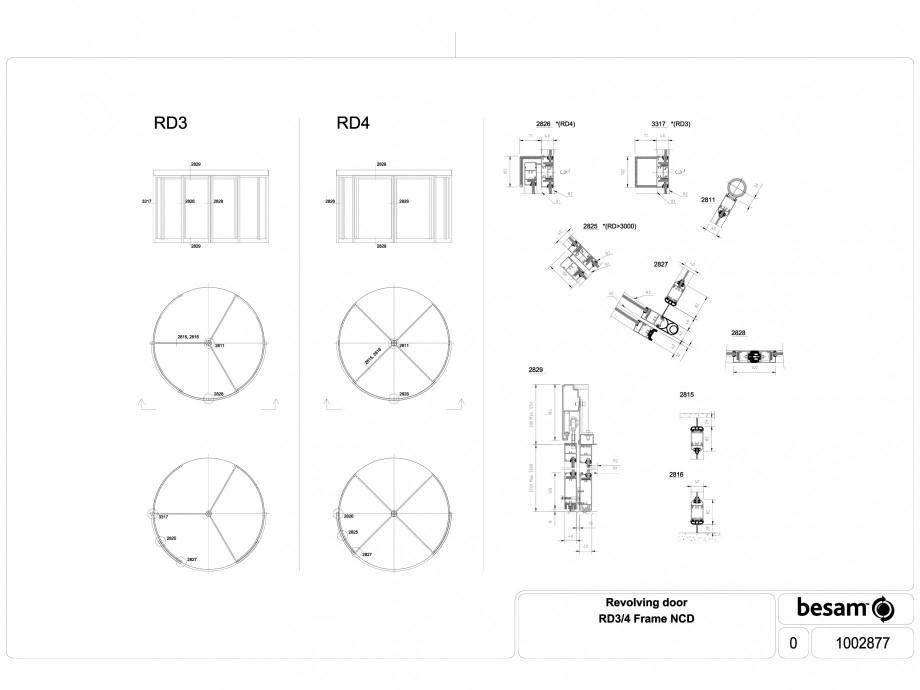 Pagina 1 - CAD-DWG Usa automata rotativa - cadru NCD ASSA ABLOY Detaliu de produs Besam RD3, Besam...