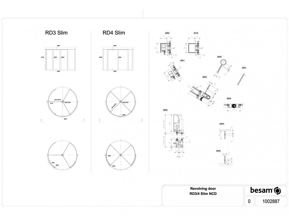 Pagina 1 - CAD-DWG Usa automata rotativa - Slim NCD ASSA ABLOY Detaliu de produs Besam RD3, Besam...
