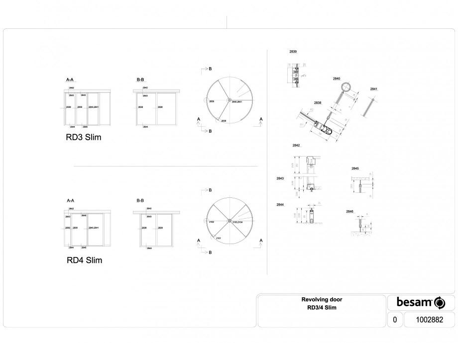 Pagina 1 - CAD-DWG Usa automata rotativa - Slim ASSA ABLOY Detaliu de produs Besam RD3, Besam RD4