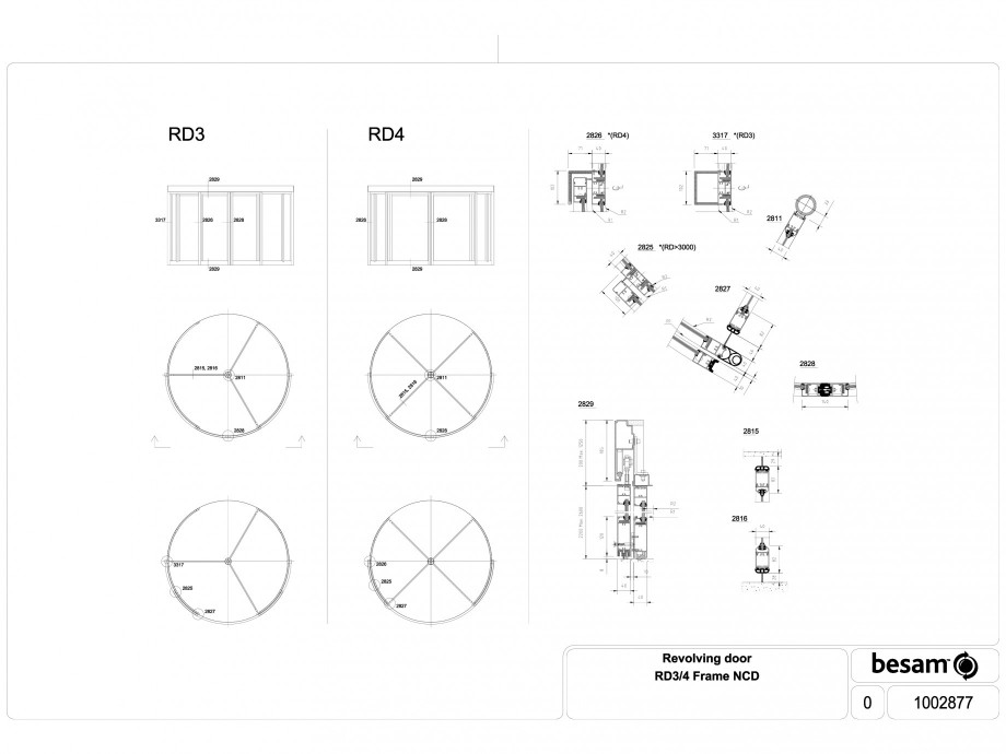 Pagina 1 - CAD-DWG Usa automata rotativa cu doua sensuri de acces ASSA ABLOY Detaliu de produs Besam...