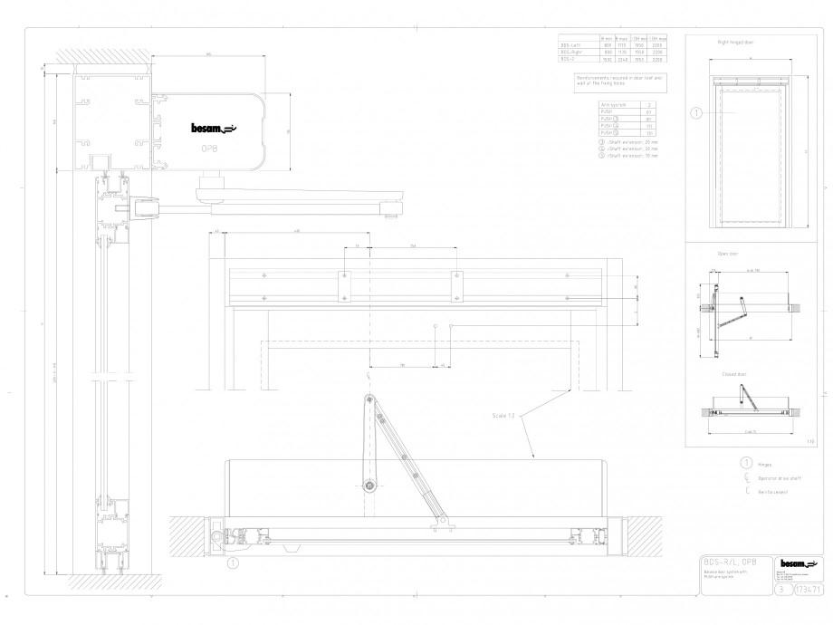 Pagina 1 - CAD-DWG Usa automata cu bara de impingere BDS-R/L OPB ASSA ABLOY Detaliu de montaj Besam ...