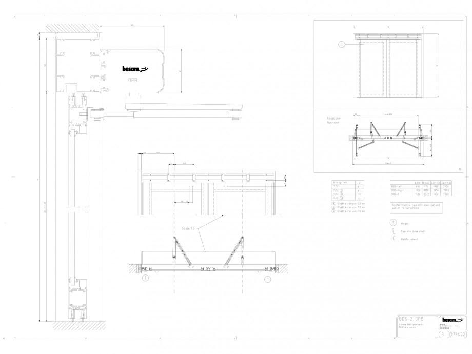 Pagina 1 - CAD-DWG Usa automata cu bara de impingere BDS-2 OPB ASSA ABLOY Detaliu de montaj Besam...