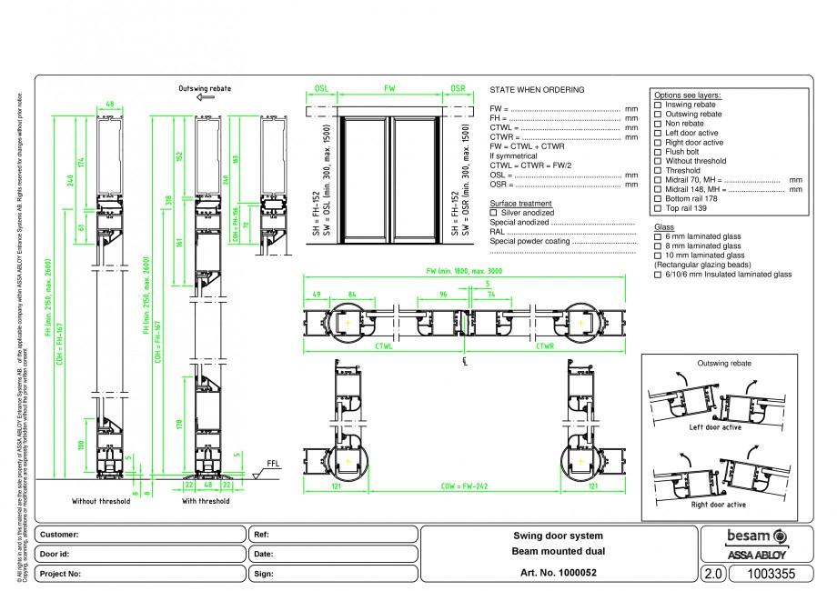 Pagina 1 - CAD-PDF Usa automata batanta - montare sina ASSA ABLOY Detaliu de montaj Besam ADS Slide