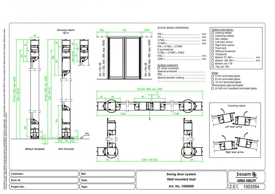 Pagina 1 - CAD-PDF Usa automata batanta - montare pe perete ASSA ABLOY Detaliu de montaj Besam ADS...