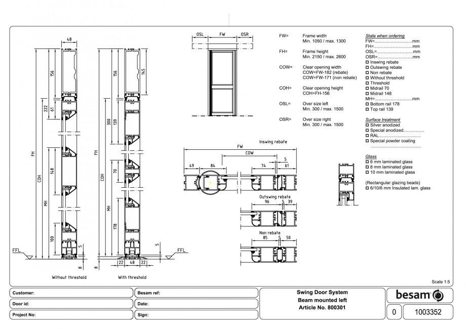 Pagina 1 - CAD-PDF Usa automata batanta - montare sina stanga ASSA ABLOY Detaliu de produs Besam ADS...