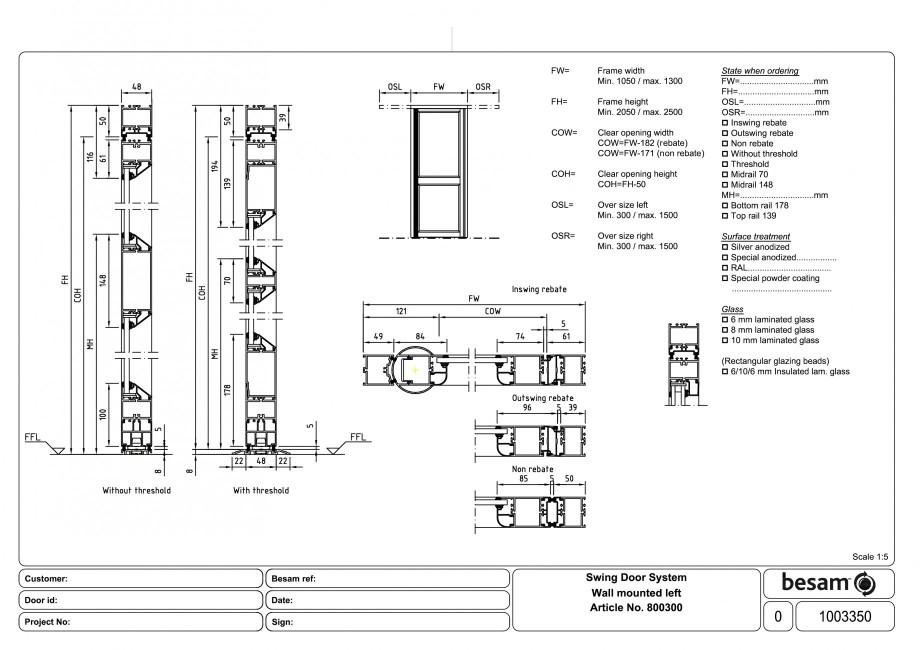 Pagina 1 - CAD-PDF Usa automata batanta - montare pe perete stanga ASSA ABLOY Detaliu de produs...