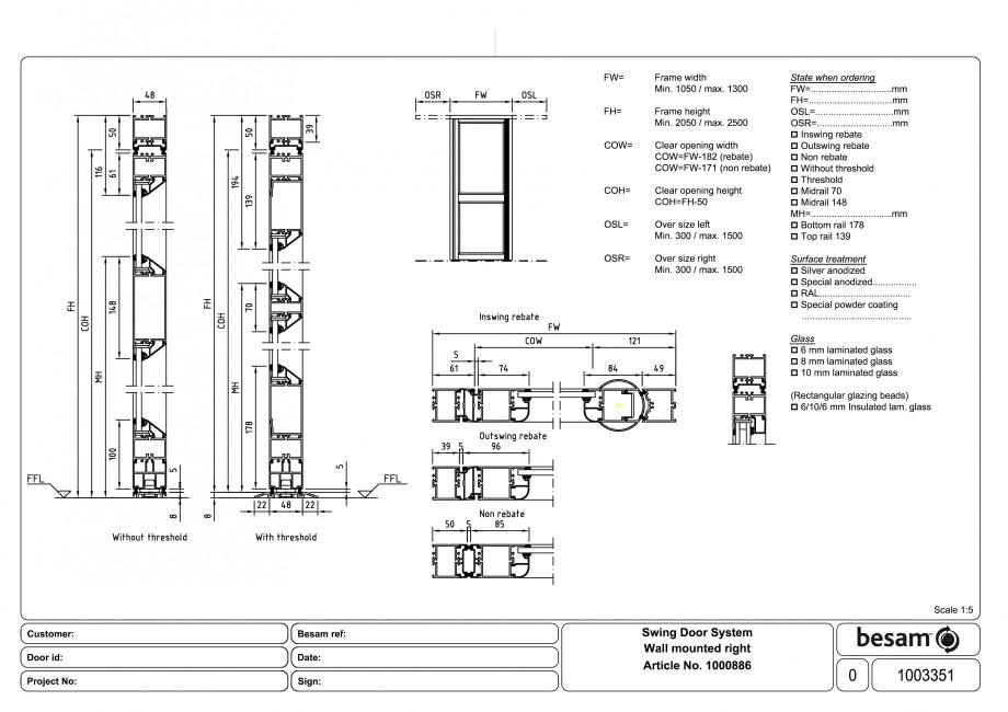Pagina 1 - CAD-PDF Usa automata batanta - montare pe perete dreapta ASSA ABLOY Detaliu de produs...