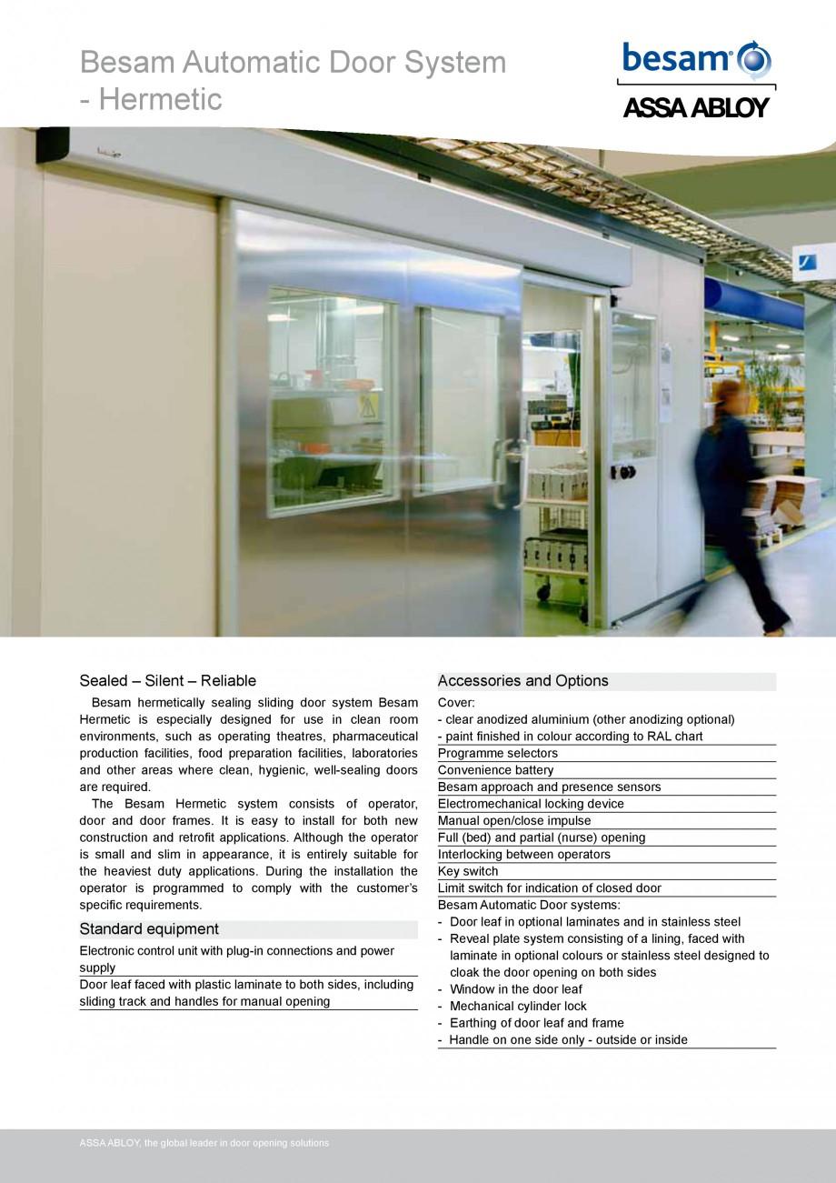 Pagina 1 - Usa automata ermetica ASSA ABLOY Besam Hermetic Fisa tehnica Engleza Besam Automatic Door...