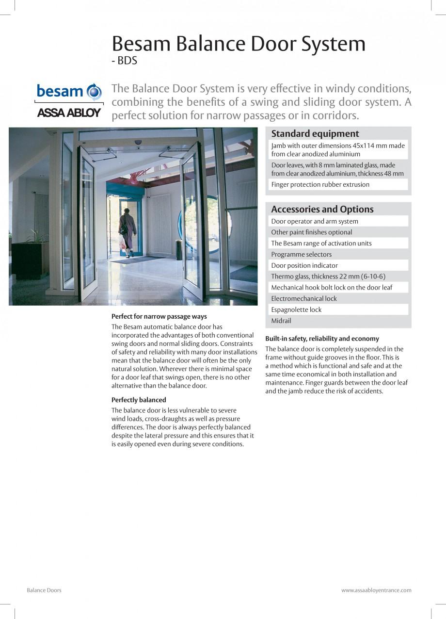 Pagina 1 - Usa automata batanta ASSA ABLOY Besam ADS Balance Fisa tehnica Engleza Besam Balance Door...