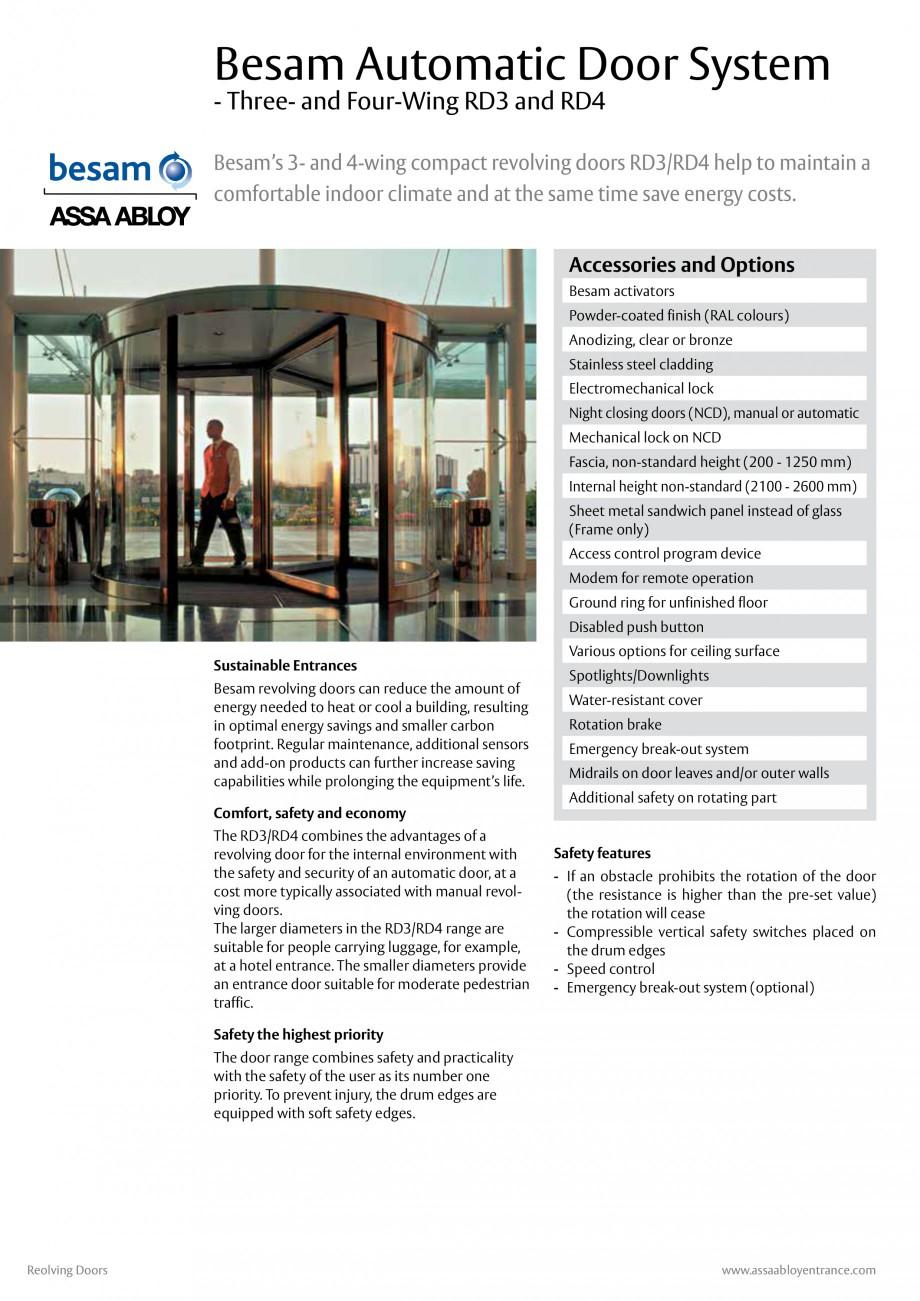 Pagina 1 - Usi automate rotative (model in 3 sau 4 usi) ASSA ABLOY Besam RD3 Fisa tehnica Engleza...