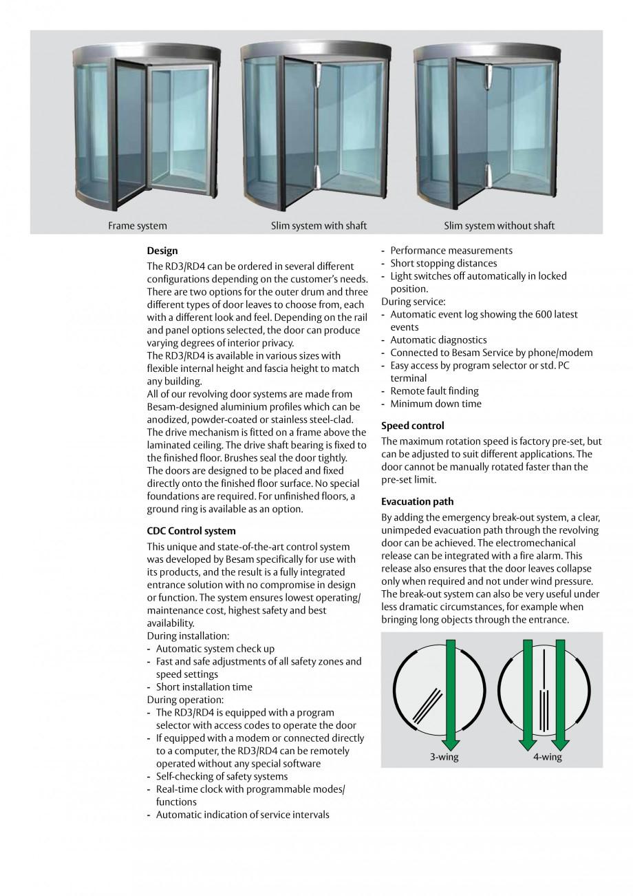 Pagina 2 - Usi automate rotative (model in 3 sau 4 usi) ASSA ABLOY Besam RD3 Fisa tehnica Engleza s ...
