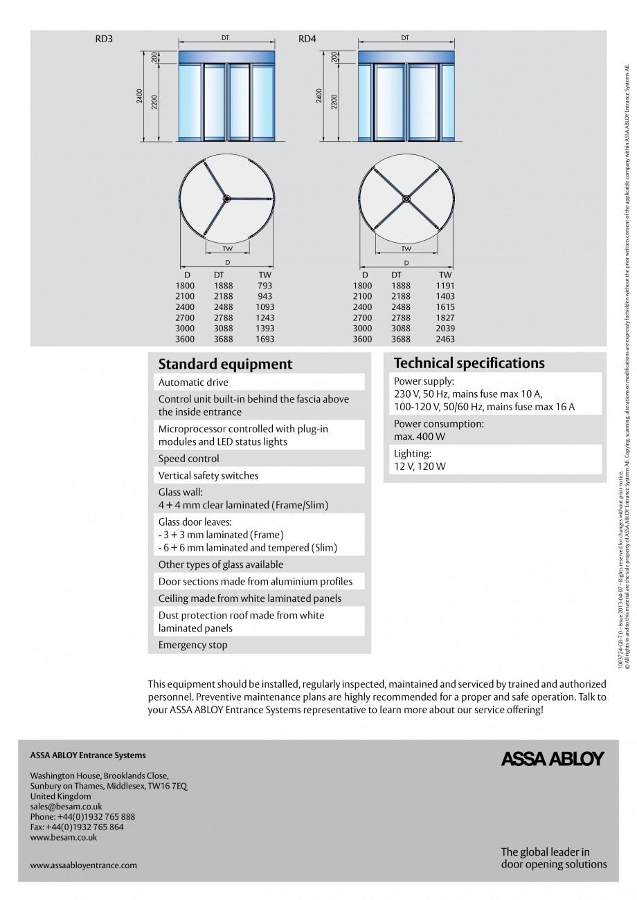Pagina 4 - Usi automate rotative (model in 3 sau 4 usi) ASSA ABLOY Besam RD3 Fisa tehnica Engleza...