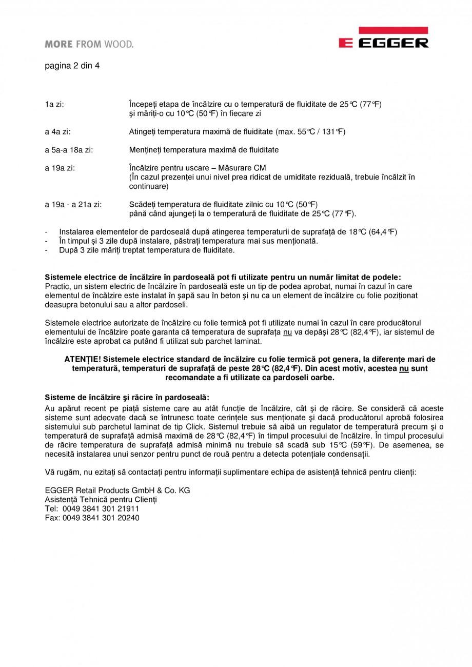 Pagina 2 - Informatii detaliate privind parchet laminat pentru sisteme de incalzire in pardoseala...