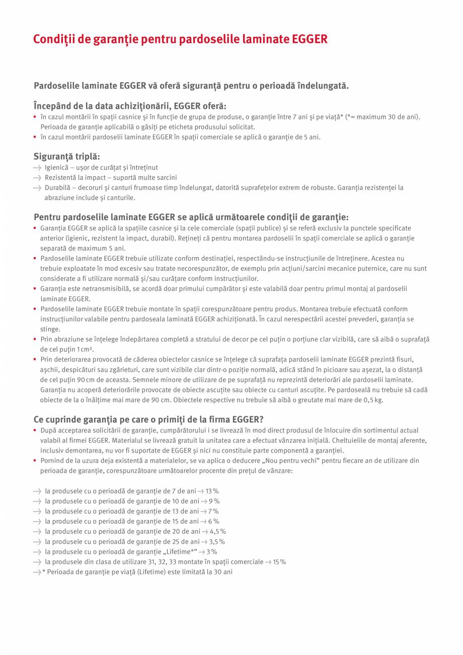 Pagina 2 - Declaratie de garantie si instructiuni de intretinere pentru pardoselile laminate Egger...