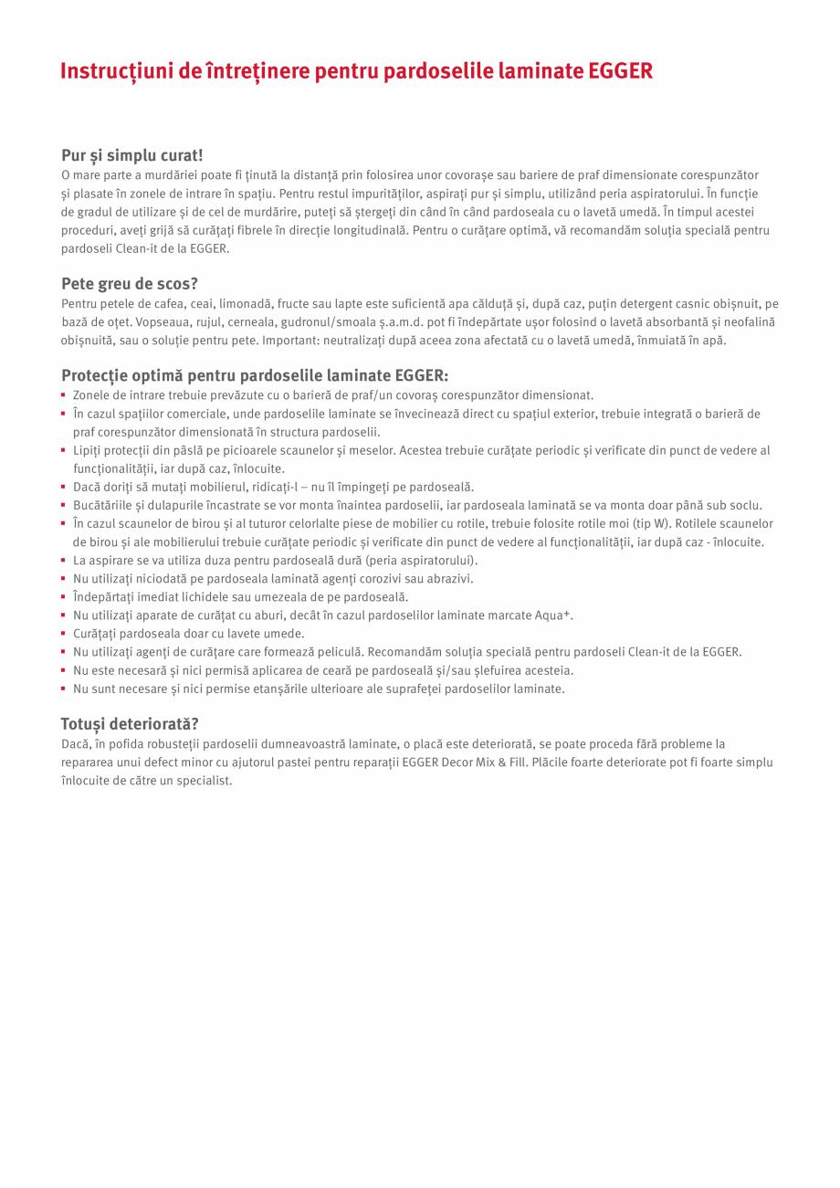 Pagina 4 - Declaratie de garantie si instructiuni de intretinere pentru pardoselile laminate Egger...