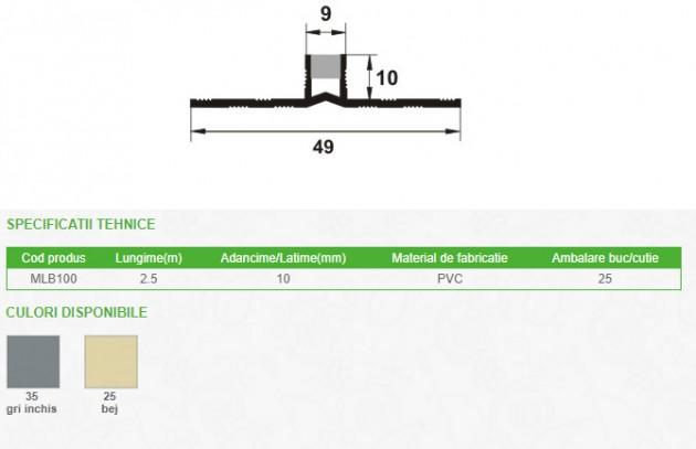 Schiță dimensiuni Profil de dilatatie din PVC - PROLUX MLB100