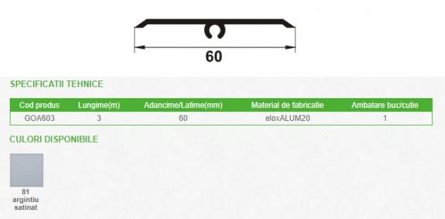 Schiță dimensiuni Profil de dilatatie autoadeziv pentru pardoseala din eloxALUM20, 60 mm latime - GOA603