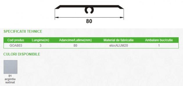 Schiță dimensiuni Profil de dilatatie autoadeziv pentru pardoseala din eloxALUM20, 80 mm latime - PROLUX GOA803
