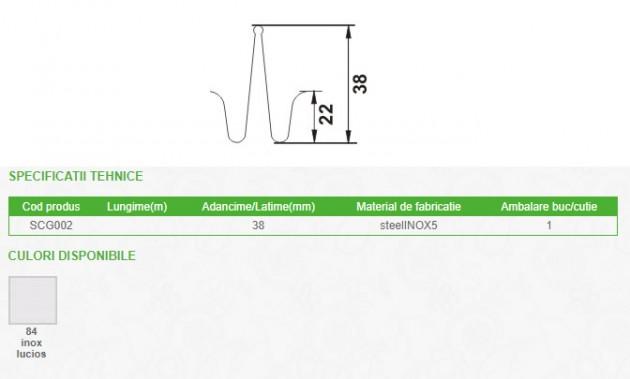 Schiță dimensiuni Clema cu prindere dubla pentru profilul de dilatatie GOA - SCG002
