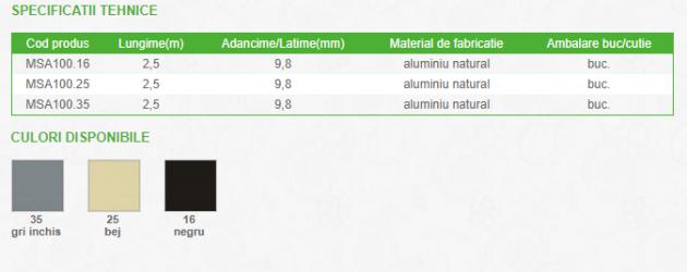 Schiță dimensiuni Profil de dilatatie din aluminiu - PROLUX MSA100