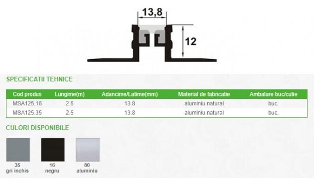 Schiță dimensiuni Profil de dilatatie din aluminiu - PROLUX MSA125