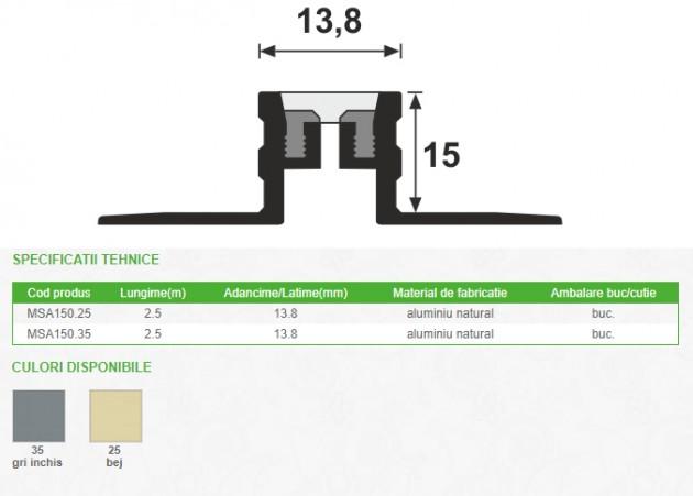 Schiță dimensiuni Profil de dilatatie din aluminiu - MSA150
